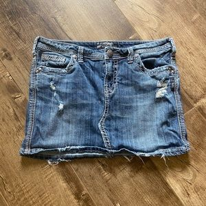 Silver Denim Skirt